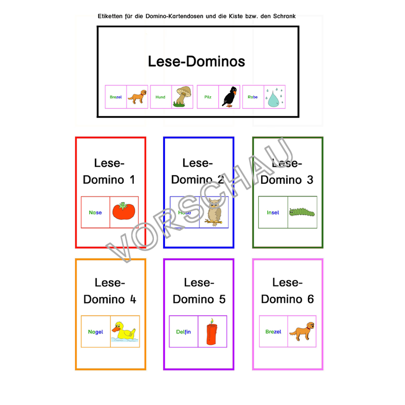 lesedominos erste w246rter lesen