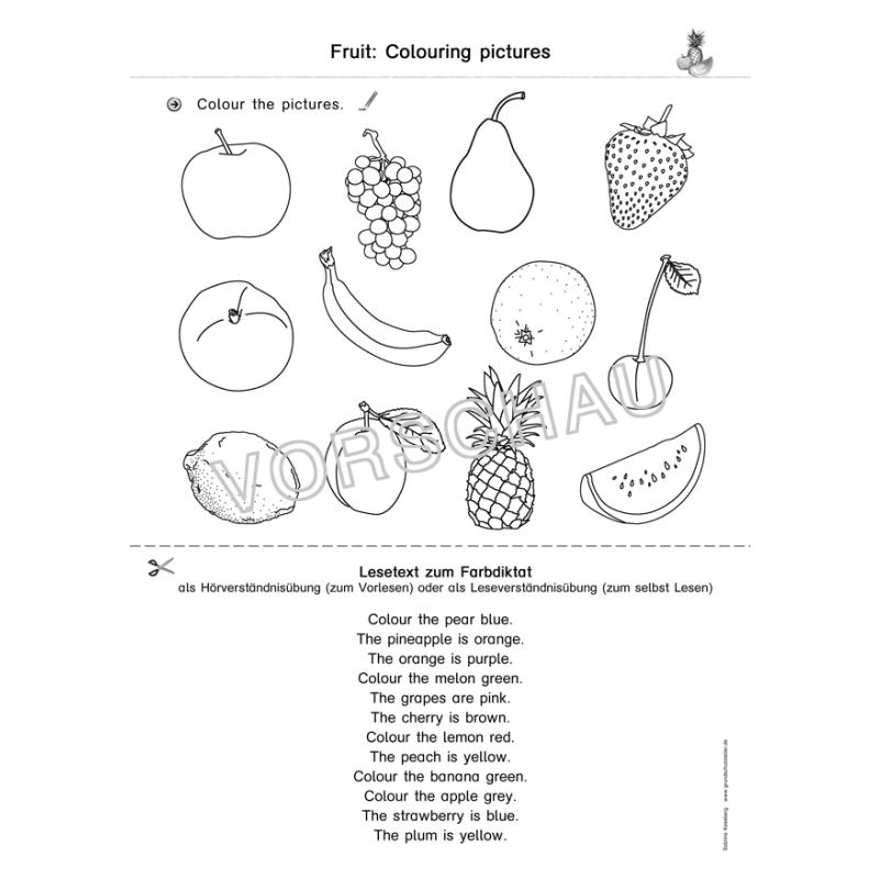 Arbeitsblätter Obst Gemüse : Englischmaterialien fruit and vegetables