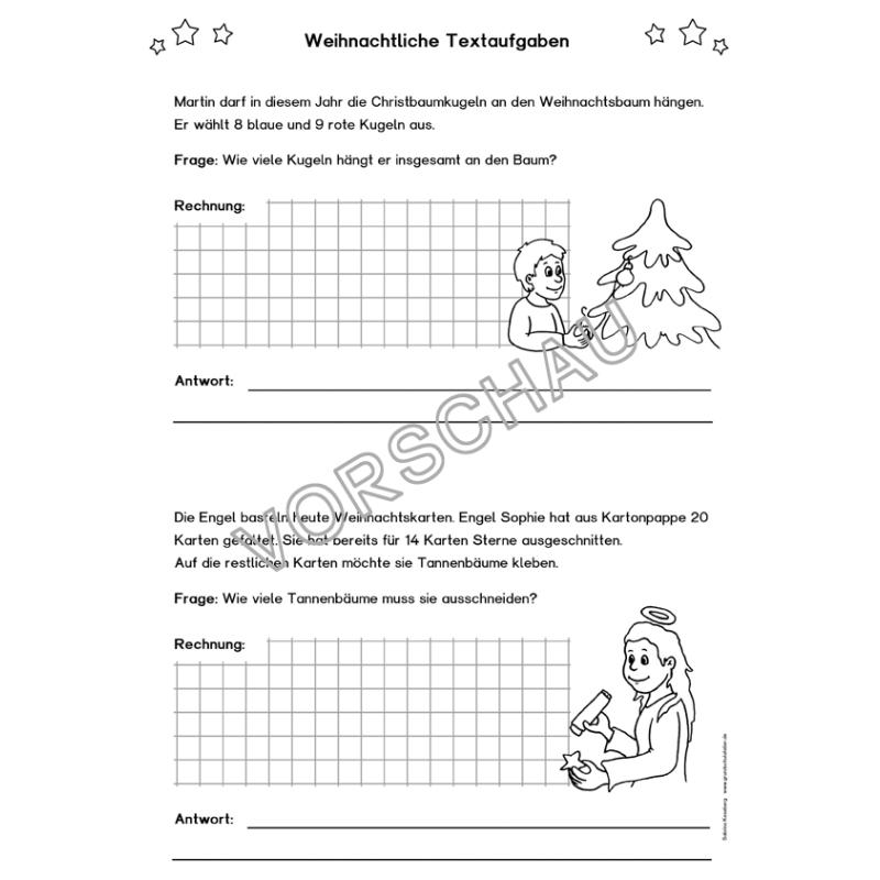 Arbeitsblätter Mathe Weihnachten Grundschule: Kostenlose ...